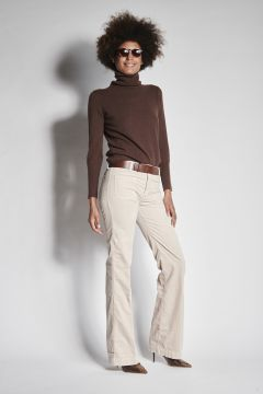 White flared velvet trousers