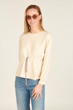 White Sweatshirt with colorful drawstring