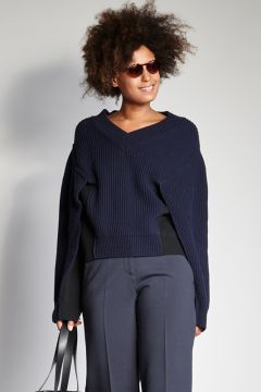 Over blue sweater