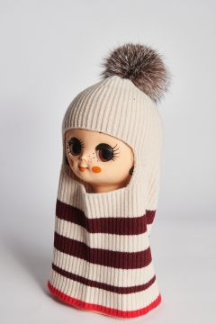 Ivory balaclava with red stripes and pompom