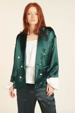 Petrol green double breasted jacket