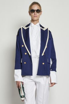 Blue double breasted jacket with white edges
