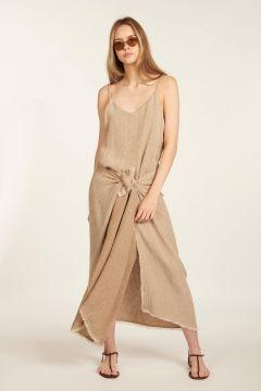 Long dress in herringbone linen