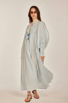 White and light blue striped dress