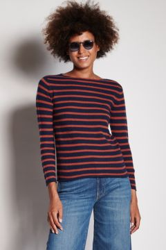 Blue and burnt striped crewneck sweater