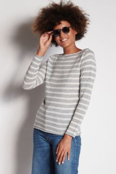 Gray and ivory striped crewneck sweater