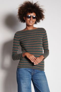 Green and coffee striped crewneck sweater