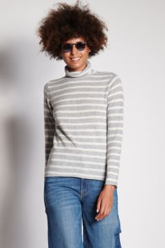 Gray and ivory striped turtleneck