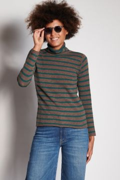 Green and coffee striped turtleneck