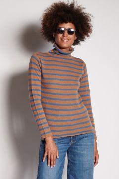 Blue and burnt striped turtleneck