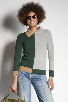 3-color cashmere polo shirt