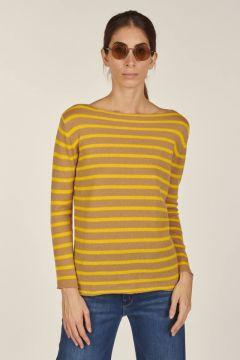 Dolcevita Striped boat neckline