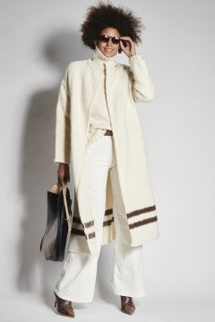 Ivory eco-sheepskin with brown bands