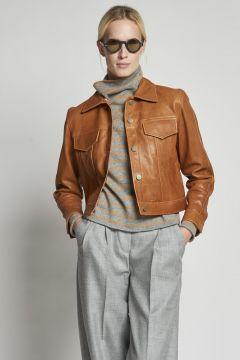 giacca in pelle beige