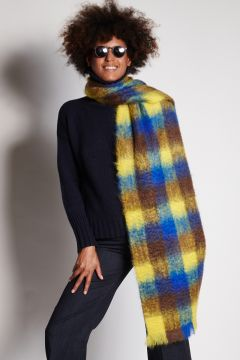 Blue yellow checked scarf