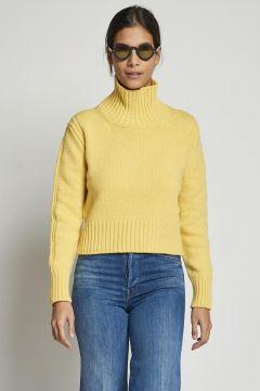 yellow wool turtleneck sweater