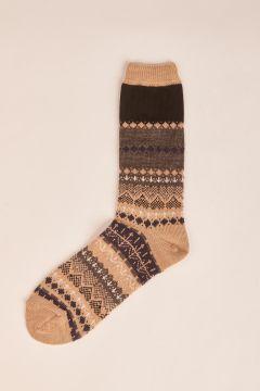 Beige english wtyle wool socks