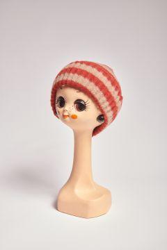 Cappello in lana a righe beige e mattone