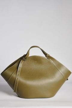 Big geometrical shopping bag olive