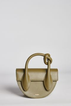 Olive leather bag with knot