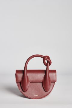 Borsa in pelle bordeaux con nodo