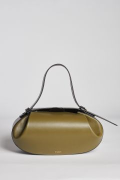 Olive oval leather bag