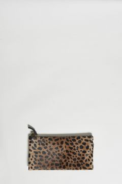 leopard print leather clutch