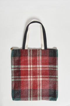 borsa shopping tessuto a quadri e manico in nastro