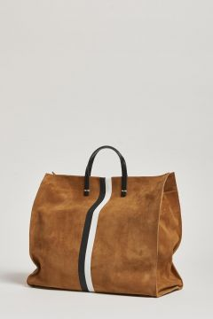 suede bag with handle and black white stripe