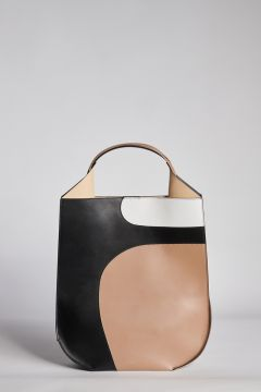 Three-color leather bag