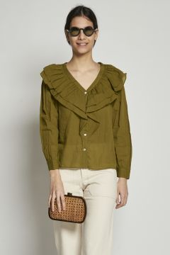 Green shirt with ruffles