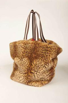 Borsa shopping Hollie leopardata in finta pelliccia