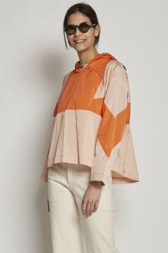 Bicolor hooded jacket