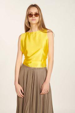 Yellow sleeveless silk top