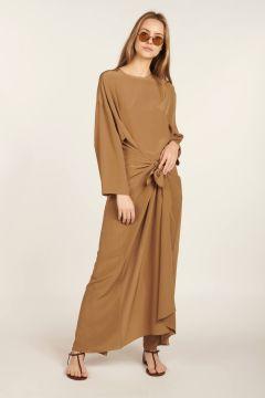Long brown silk jumpsuit