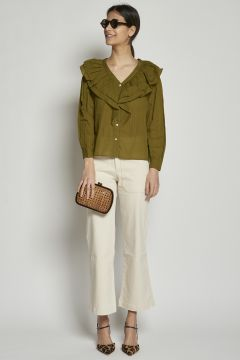Cream cotton trousers with pockets
