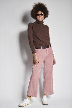 Pantaloni rosa a zampa in velluto liscio