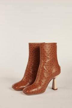 Yvonne ostrich print booties