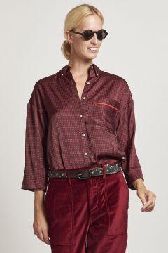 burgundy polka dot shirt