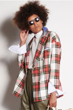Tartan double-breasted jacket