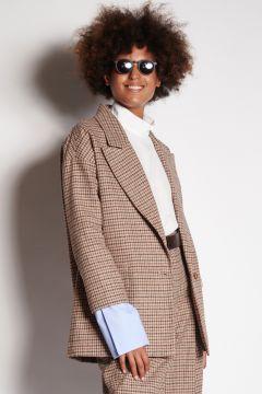 Pie de poule jacket with cotton cuffs