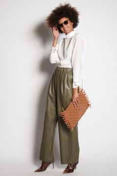 Olive trousers in faux leather