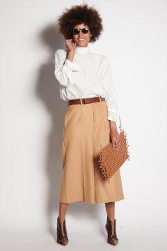 Beige crop trousers