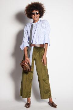 Olive velvet trousers