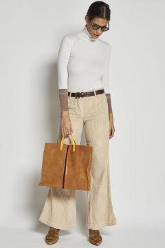 pantalone treccia rocciatore in velluto avorio