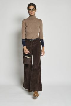 pantalone treccia rocciatore in velluto marrone