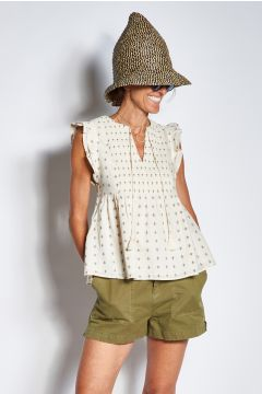 Printed top with smocking