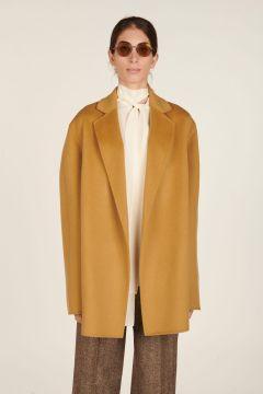 Camel short wrap coat