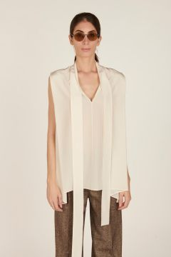 Ivory sleeveless silk blouse