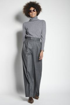 Gray flannel trousers with pleats